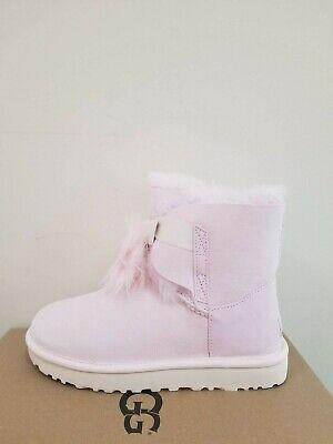 Ugg Australien Damen Gita Pelz Pom-Pom Stiefel Size 6 Neu in Box - Pom Pom Flache Stiefel