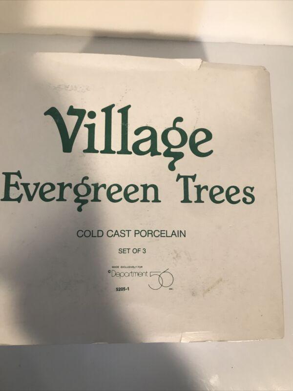 Dept 56 Village Evergreen Trees - Cold Cast Porcelain - Set of 3 #5205-1
