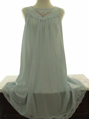 Vintage SHADOWLINE Nightgown Negligee Lingerie Sky Blue Floral Lace M