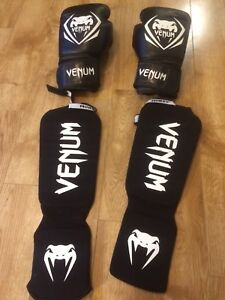 Venum Boxing Gloves and Shin Pads