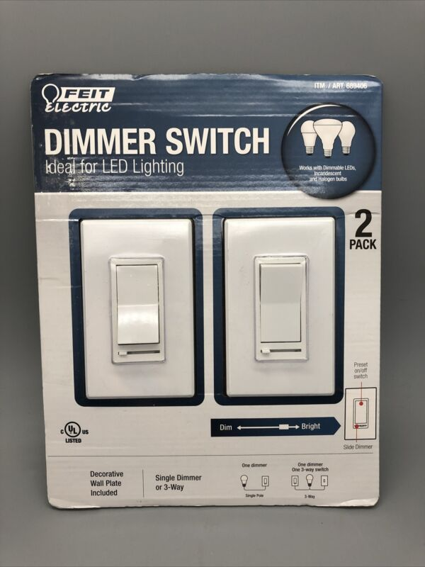 Feit Electric Dimmer Switch 2-Pack Single Dimmer or Three Way NOB