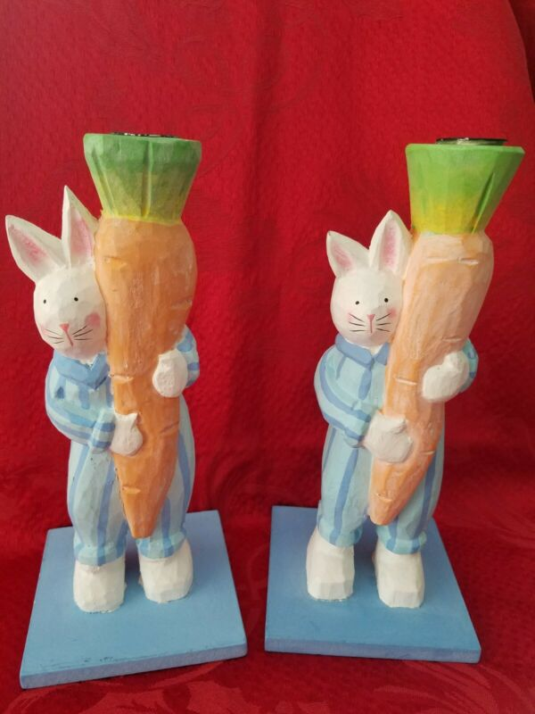 Easter Bunnies Set of Two with Carrot candle holders