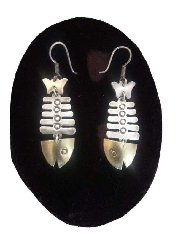Taxco Mexico Sterling Silver and Brass Fish Skeleton Earrings TD-77 Vintage