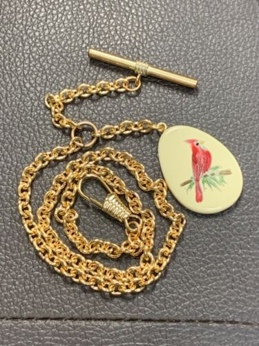 """Vintage Gold Plated Pocket Watch Chain 16"""" Long Estate Fresh Beautiful!!"""