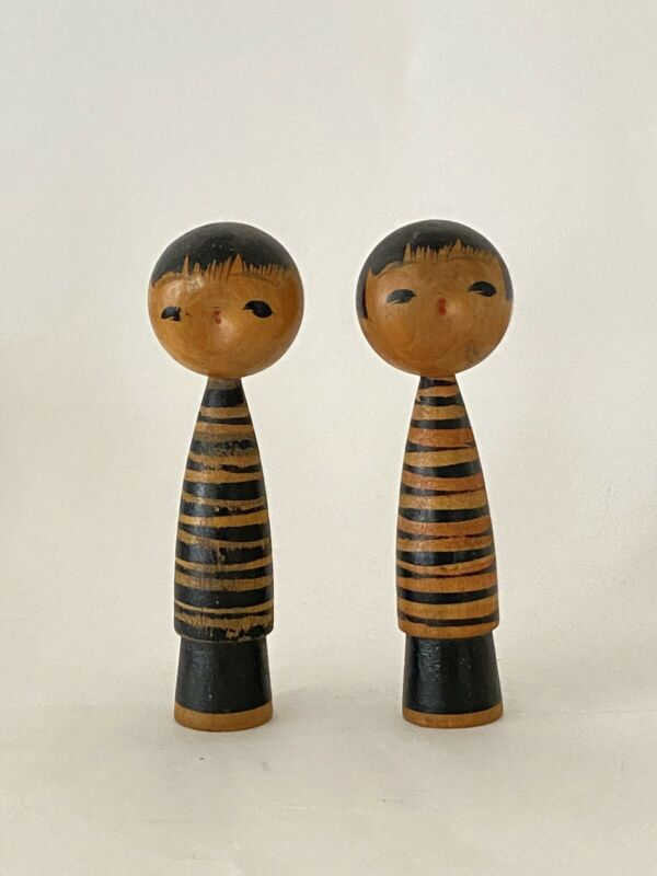 Kokeshi Doll Pair Wooden Japanese Traditional Signed Folk Craft Vintage
