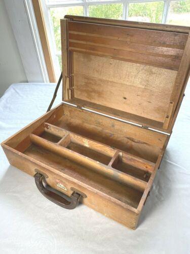 Vintage Wood Artist Paint, Supply Case ~ Brass Hooks & Finger Joint Corners