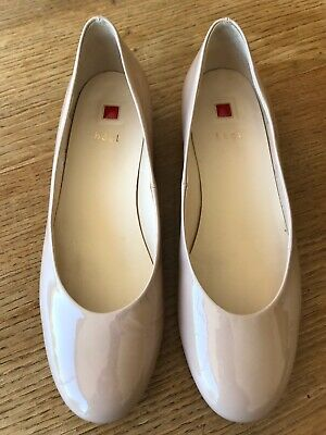 Women's HOGL nude patent leather ballet flats, size UK6