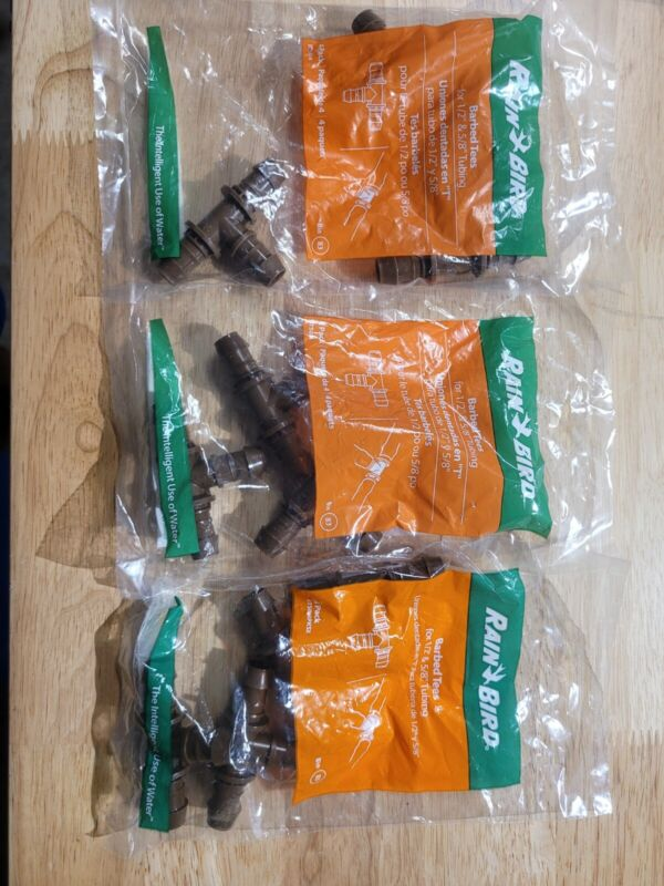 """Lot of 3 Rain Bird 4 Packs Barbed Tees For 1/2"""" And 5/8"""" Tubing New In Package"""