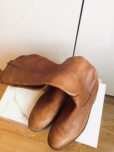 HANDMADE MEXICAN LEATHER RIDING BOOTS WOMENS SIZE 7