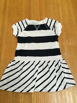 NAUTICA INFANT GIRLS BLACK/WHITE STRIPED DRESS & PANTS   SIZE 24 MO