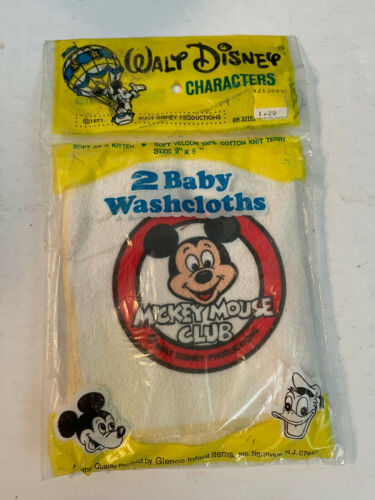 """VINTAGE Mickey Mouse Club 2 Baby Washcloth 9"""" x 9"""" still sealed package 1971"""