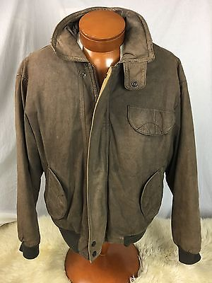 * Forest Club * Brown Bomber Leather Jacket Thermolite Lined w/Hood NICE L