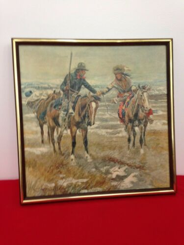Vintage CHARLES M. RUSSELL A Doubtful Handshake PRINT ON CANVAS Giclee Framed