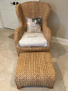 Brand New Pottery Barn Seagrass Wingback Armchair