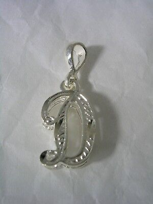(LETTER D INITIAL PENDANT CHARM WITH A DIAMOND CUT FINISH IN STERLING SILVER)