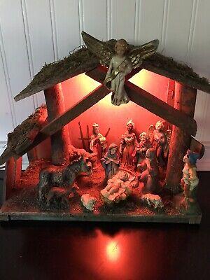 Vintage Lighted Fontanini? 2 Piece Nativity Set (Italy)
