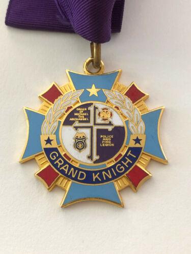 Knights of Columbus Enamel Medal Medallion / Grand Knight / Fire Police Legion