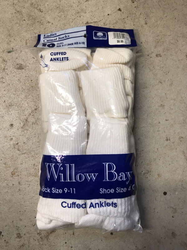 NOS 90's Vintage Willow Bay Ladies Cuffed Anklets Socks Cotton 10-Pack White