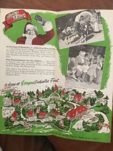 ca1970 brochure Santa's Village Bracebridge Muskoga Ontario map Enchanted Forest