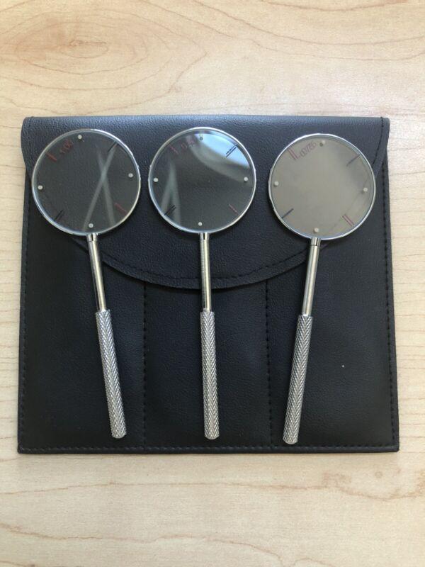 3 Jackson Cross Cylinders w/ Soft-Sided Case - 0.50 / 0.75/ 1.00 - Handheld