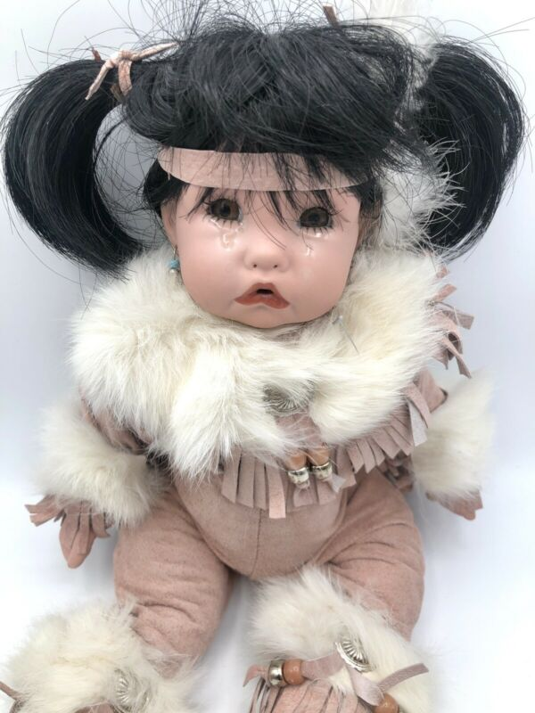 Sagebrush Kids Porcelain Indian Baby Girl Crying Face Pink Suede And Rabbit Fur