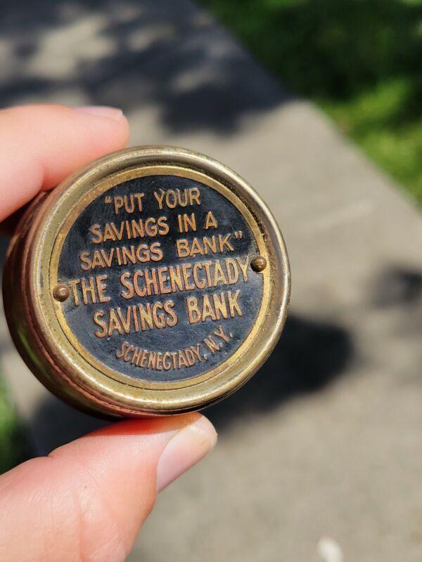 Vintage antique small metal barrel coin savings Bank Schenectady New York NY