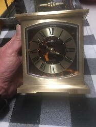 Vintage Howard Miller Quartz Brass Carriage Clock Mantle Desk Alarm 4RE603 Japan
