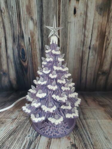 "Ceramic Christmas Tree Lighted 10"" - Purple Glaze - Purple Holly Base"