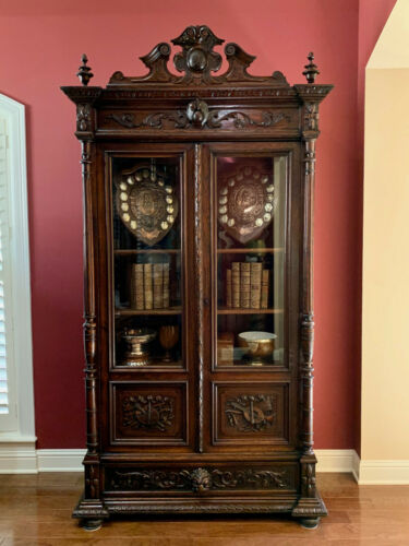 Antique French Carved Oak Bookcase Cabinet Glass Door Music Art Renaissance