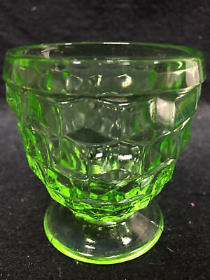 Green Vaseline Glass American Pattern Uranium Toothpick Holder Cup   Shot Glass