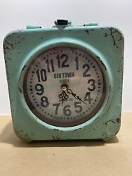 Old Town Clock 67 Bailey Y St. Vtg.Looking Metal Rusty Clock 2 Sided 7 Square
