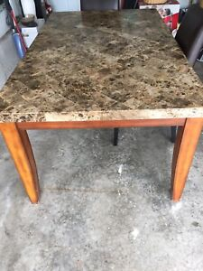 Kitchen Table and 4 Brown Faux Leather Chairs