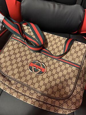 Gucci unisex Messenger Crossbody Laptop Bag, GG Print, Red & Green Strap Vintage