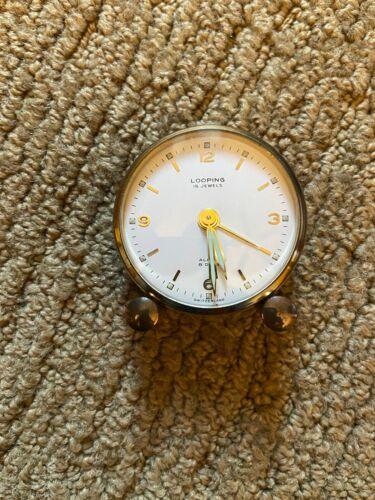 Vintage Looping 15 Jewels Travel Alarm Clock Swiss 8 Days Runs