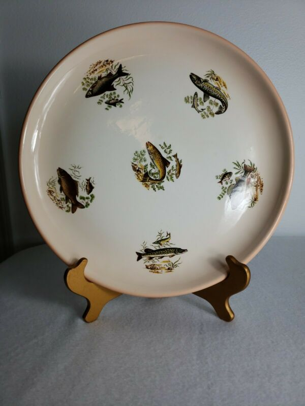 Large Platter Fish Theme Hand Signed fishing decor fish gift table decor dish