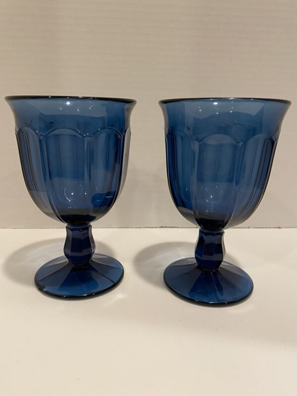 """2 Vintage Antique Colored Depression Glass Blue Goblet Wine Water Cup 5 1/2""""Tall"""