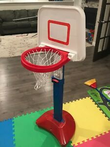 Toy adjustable basketball net