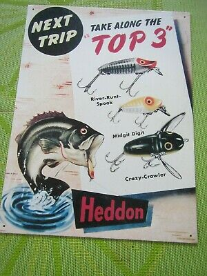 Vintage Advertising Heddon Litho Tin Sign River Runt Spook Midgit Crazy Crawler