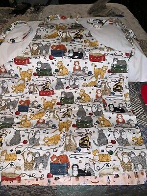 """Kay Dee Designs Cat Apron w/Pockets """"CATS GALORE"""" MADE IN USA NEW"""