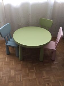Ikea children's round table with 3 chairs