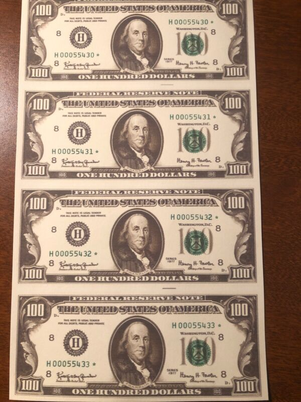 Copy 1977 $100 Uncut Reproduction Currency Money Sheet