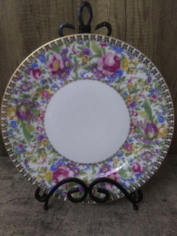 """1-BAVARIA BAV434 Floral Gold Trim 11"""" Dinner Chop Plate Platter Charger RARE"""