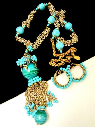 Rare Vintage Signed Miriam Haskell Turquoise Glass Tassel Necklace & Earring Set