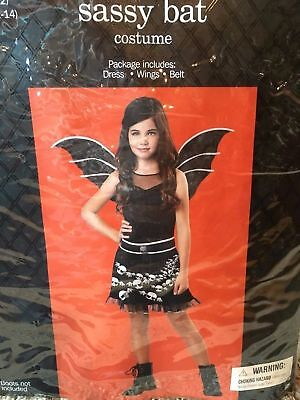 Girl Bat Costume (NEW Girls Black Sassy Bat Costume Halloween)
