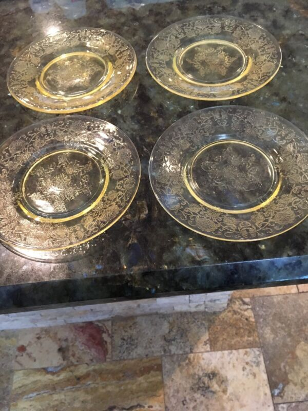 4 Florentine Hazel Atlas Bread And Butter Plates