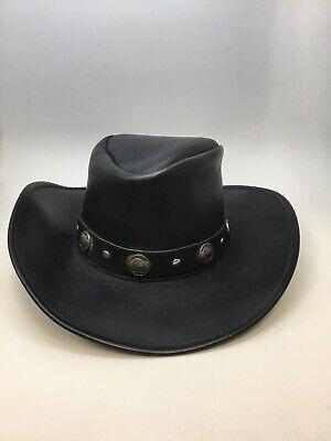 New Cov-Ver Oiled Buffalo Black Leather Cowboy Hat -