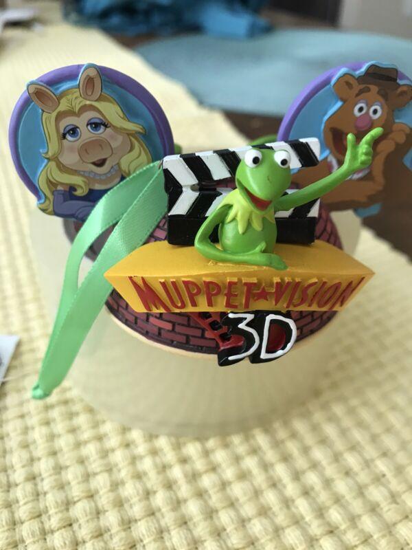 Disney Hollywood Studios Muppet Vision 3D Kermit Piggy Mickey Ear Hat Ornament
