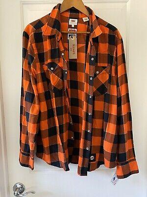 Levi's MLB SF Giants Baseball Orange Buffalo Western Plaid Shirt Size -