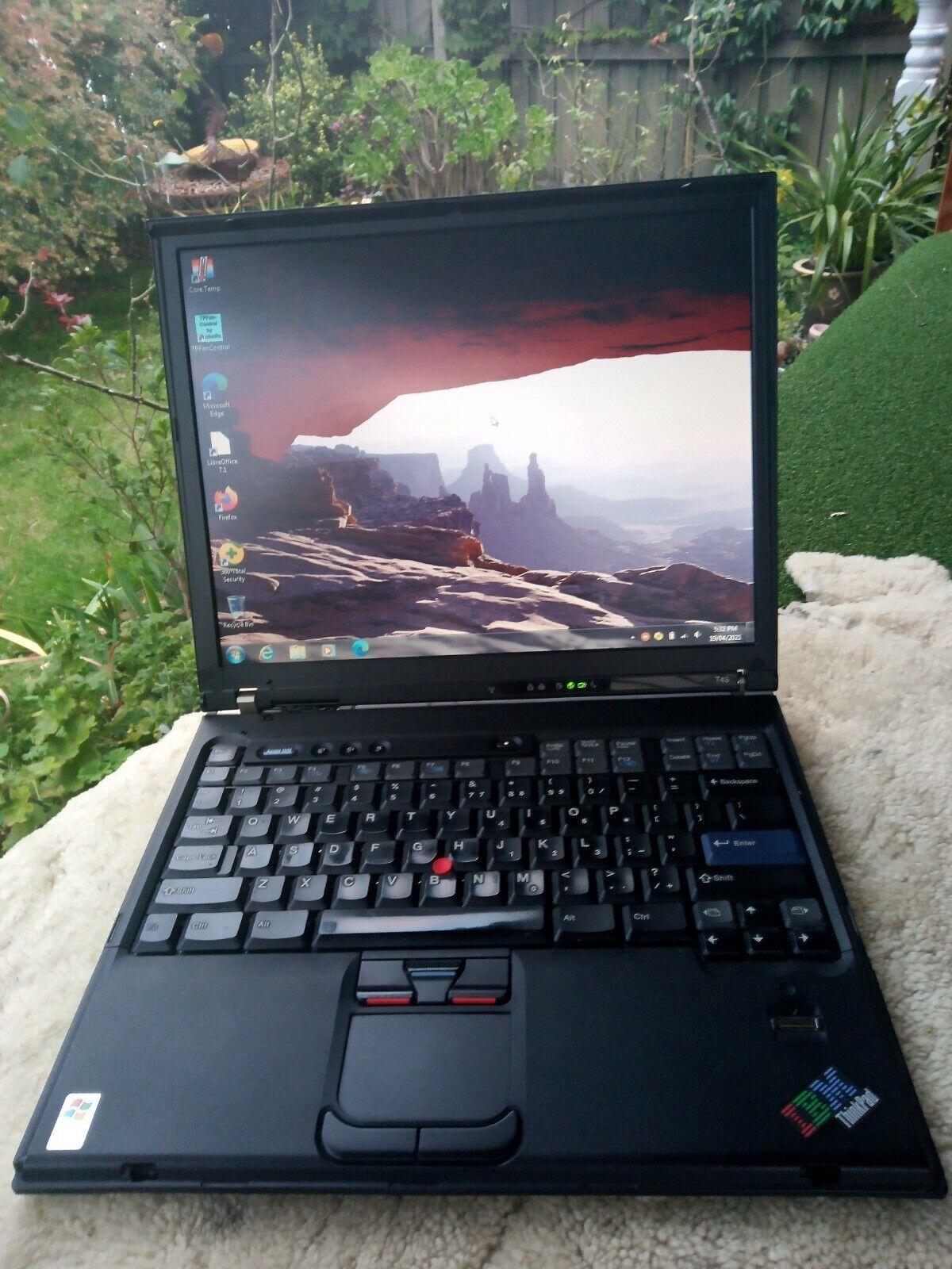 "Laptop Windows - Classic IBM T43 Thinkpad 14"" laptop, EC with Windows 7 Pro SP1 and LibreOffice"