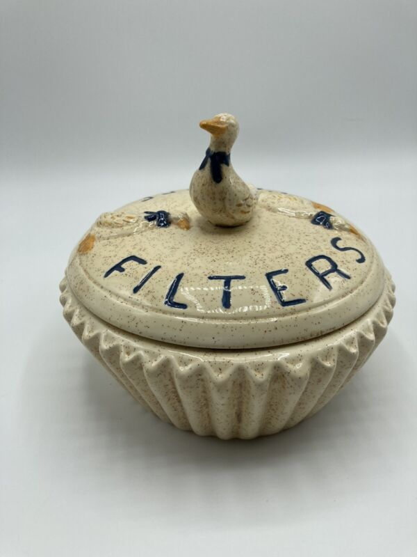 Geese Vintage Coffee Filter Ceramic Storing Storage Container.